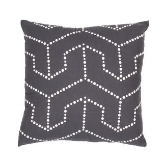 Handmade Charcoal Flax 18x18-inch Throw Pillow