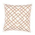 Handmade Orange Embroidered Geometric Cotton 20x20-inch Throw Pillow