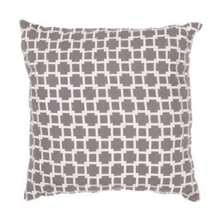 Handmade Gray Geometric Cotton 20x20-inch Throw Pillow