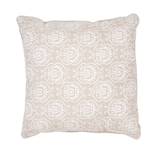 Handmade Embroidered and Metallic Linen 20x20-inch Throw Pillow