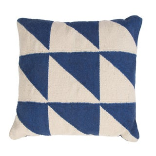 Handmade Blue Cotton 18x18-inch Throw Pillow