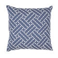 Handmade Blue Cotton/ Flax 18x18-inch Throw Pillow