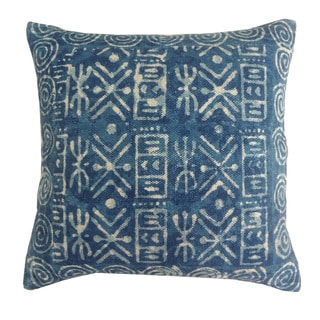 Handmade Blue Cotton 24x24-inch Throw Pillow