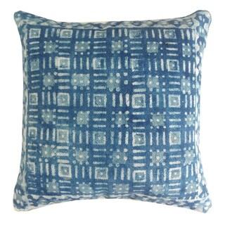 Handmade Blue Cotton 24x24-inch Throw Pillow