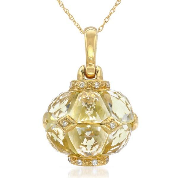 14k Yellow Gold Lemon Quartz and Diamond Accent Pendant Necklace