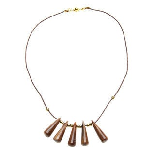 Handmade Ankole Cow Horn Beaded Leather Cord Necklace (Uganda)
