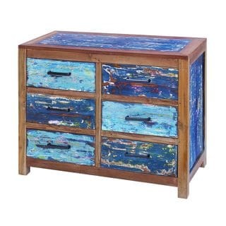 Aged Wood Blue and Natural 6-drawer Chest