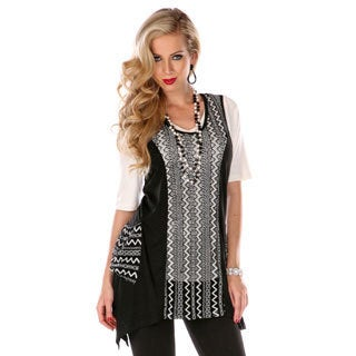 Women's Missy Fit Zigzag Spliced Top