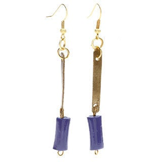 Handmade Purple Clay Bead Dew Dangle Earrings (Uganda)