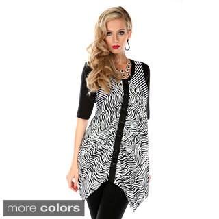 Women's Zebra Print Spliced Top