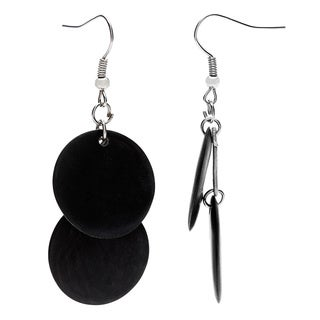 Ssezibwa Cow Horn Double Disk Dangle Earrings (Uganda)