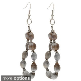 Hand-crafted Grey Ensigo Dangle Earrings (Uganda)