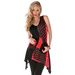 Women's Red-and-Black Missy Fit Spliced Top