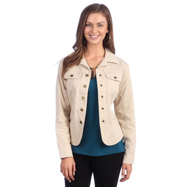 Live A Little Women's Tan Chest Pocket Jacket