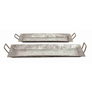 Decorative Metal Galvanized Trays (Set of 2)