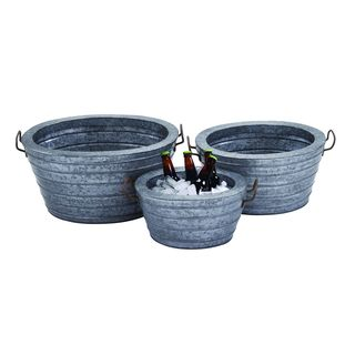 Metal Galvn Wine Tub with Robust and Rust Finish (Set of 3)