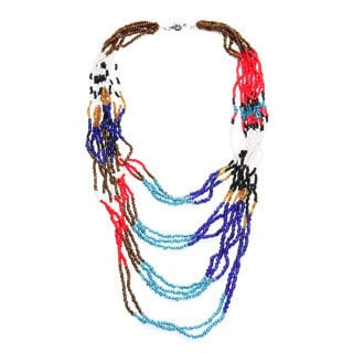 Handmade Safari Multi-colored Beaded Strand Necklace (Uganda)