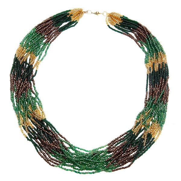 Handmade Rainforest Multi-row Beaded Necklace (Uganda)