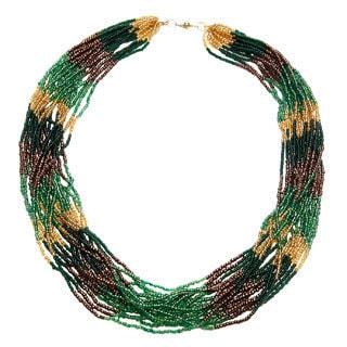Handmade Rainforest Multi-row Beaded Necklace (Uganda)