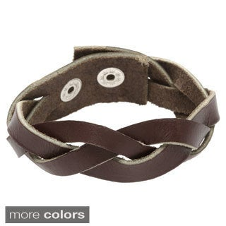 Handmade Unisex Leather Muyondo Braid Bracelet (Uganda)