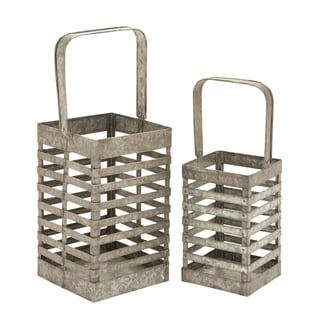 Simple Metal Galvanized Lantern (Set of 2)