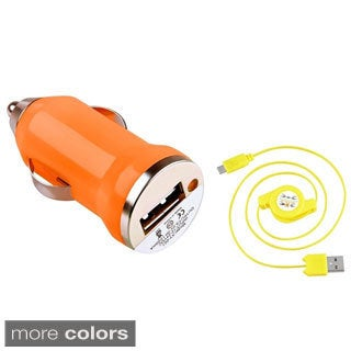 INSTEN Mini Car Charger Adapter/ Retractable Micro USB Cable