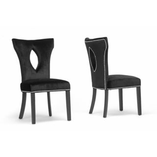 DeJarnette Black Velveteen Dining Chair (Set of 2)
