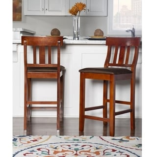 Linon Torino Slat Back Wood Counter Stool