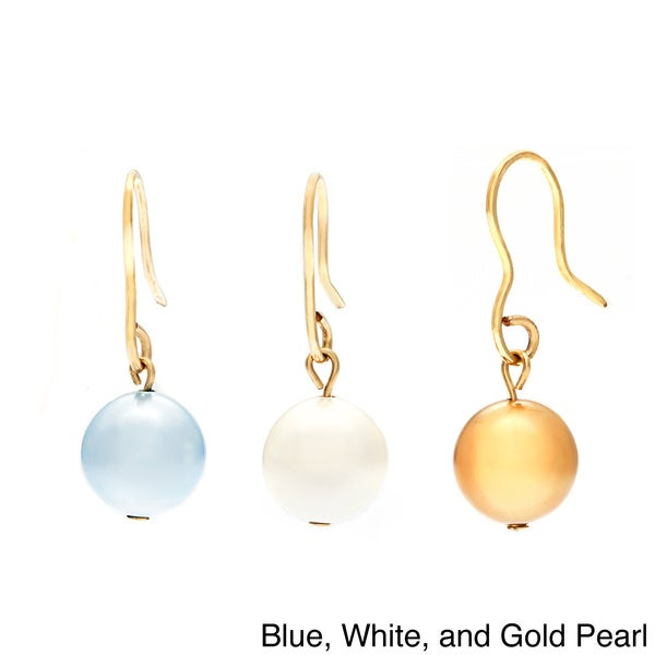 14k Gold Fill Swarovski Faux Pearl 3-pair Earring Set
