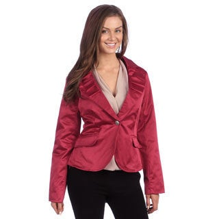 Live A Little Women's Red Pleated Panel Collar Blazer