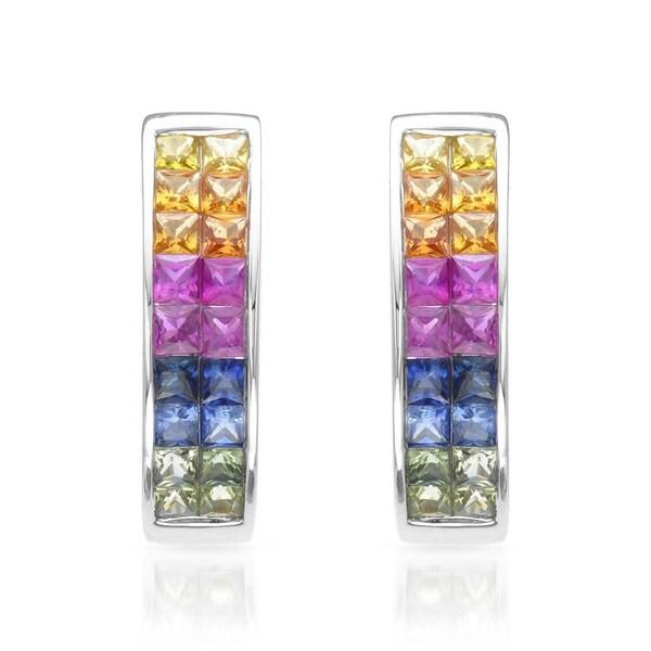 14k White Gold Multi Sapphire Hoop Earrings