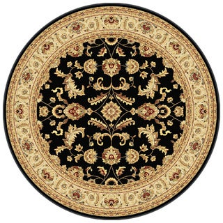 Centennial '107553' Black Traditional Round Area Rug (7'10)