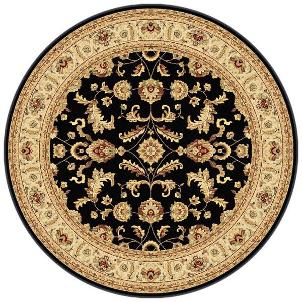 Centennial '107553' Black Traditional Round Area Rug (7'10)