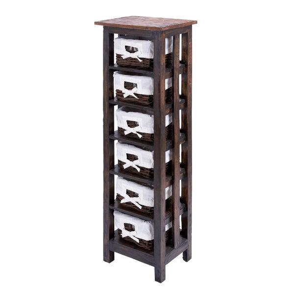 50-inch 6-shelf Wooden Rattan Storage Unit
