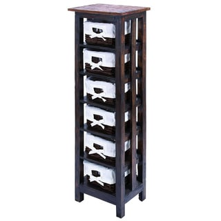 50-inch 6-shelf Wooden Rattan Storage Unit
