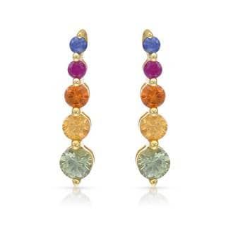 10k Yellow Gold Multi Colored Sapphire Drop Earrings