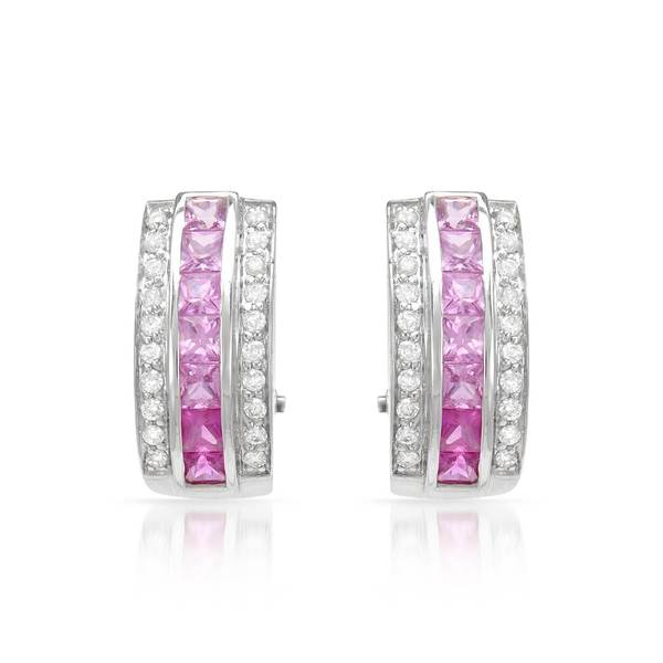 14k White Gold Pink Sapphire and Diamond Accent Graduated Earrings