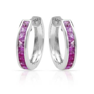 14k White Gold Pink Sapphire Graduated Hoop Earrings