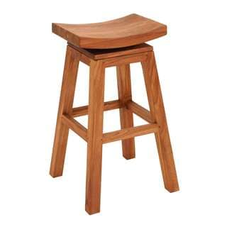 Sophisticated Teakwood Glossy Brown 30-inch Bar Stool