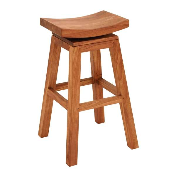 Sophisticated Teakwood Glossy Brown 30 Inch Bar Stool