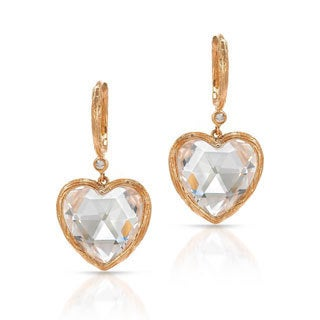 14k Rose Gold White Topaz Dangle Heart Earrings