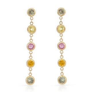 14k Yellow gold Multi Sapphire Dangle Earrings