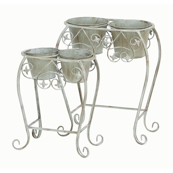 White Metal Curved Leg Planters (Set of 2)