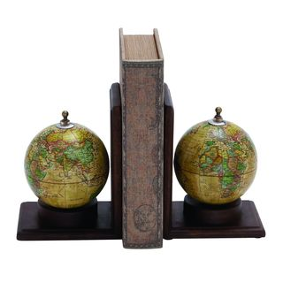 Classic Wooden and Metal Globe Bookends (Set of 2)