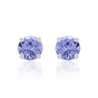 10k White Gold Blue Tanzanite Stud Earrings