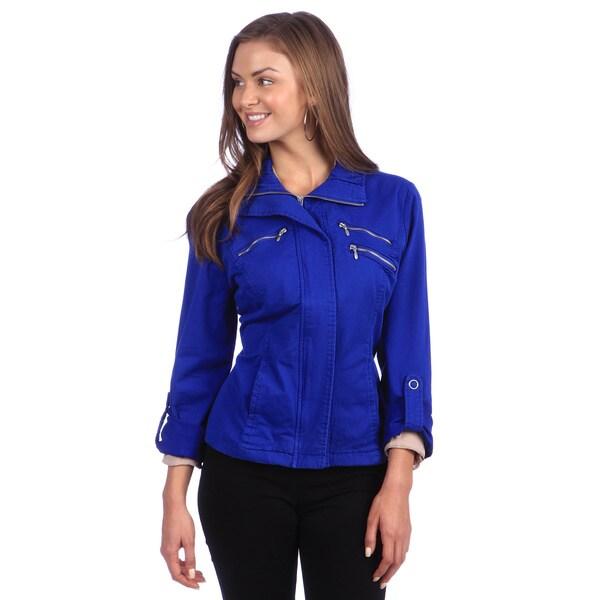 Live A Little Women's Blue Roll Sleeve Zipper Detail Jacket