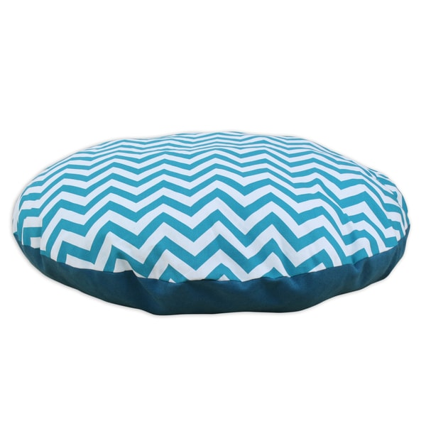 Chevron True Turquoise Blue 36-inch Round Pet Bed