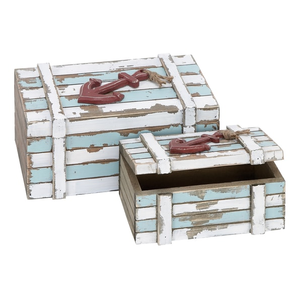 Aqua Blue/ White 2-piece Maritime Storage Box Set