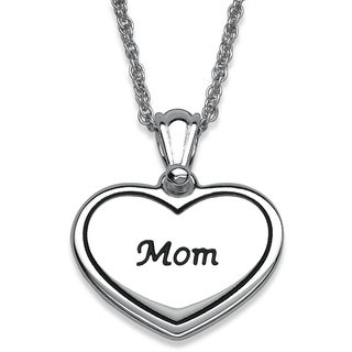 Silver Plated 'Mom' Heart Necklace