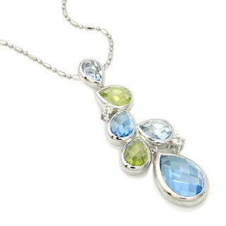 Beverly Hills Charm Silver Multi Gemstone Necklace